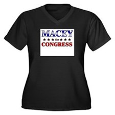 MACEY for congress Women's Plus Size V-Neck Dark T