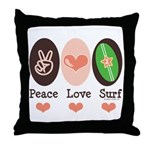 Surfing Peace Love Surf Surfboard Throw Pillow