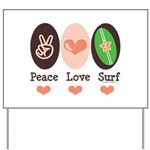 Surfing Peace Love Surf Surfboard Yard Sign
