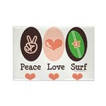 Surfing Peace Love Surf Surfboard Rectangle Magnet