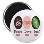 Surfing Peace Love Surf Surfboard Magnet