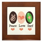 Surfing Peace Love Surf Surfboard Framed Tile