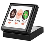 Surfing Peace Love Surf Surfboard Keepsake Box