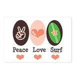 Surfing Peace Love Surf Surfboard Postcards (Packa
