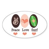 Surfing Peace Love Surf Surfboard Oval Stickers