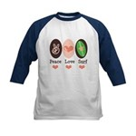 Surfing Peace Love Surf Surfboard Kids Baseball Je