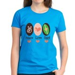 Surfing Peace Love Surf Surfboard Women's Dark T-S
