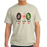 Surfing Peace Love Surf Surfboard Light T-Shirt