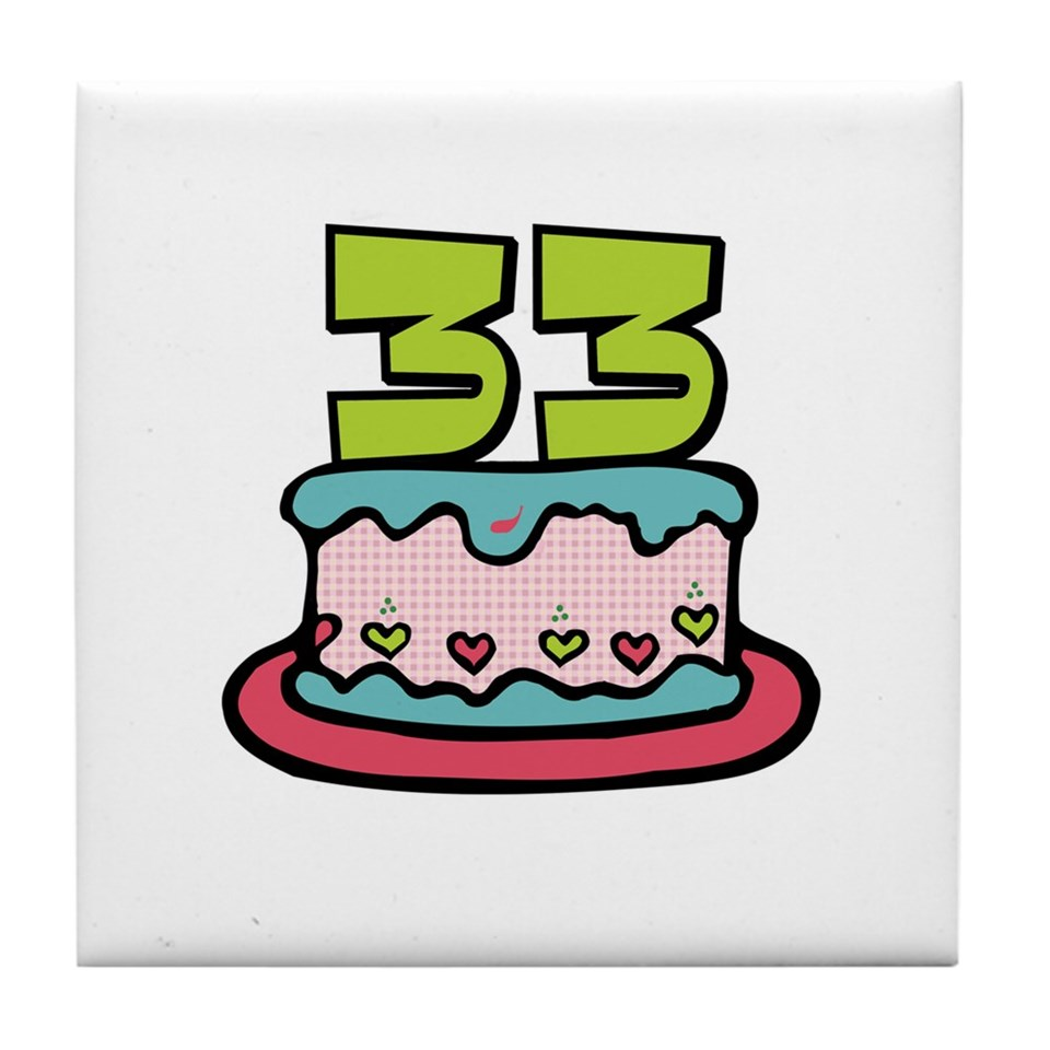 33 Gifts Kitchen And Entertaining 33rd Birthday Cake Tile