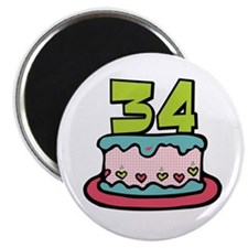 34th Birthday Cake Magnet