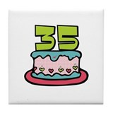 35th Birthday Cake Tile Coaster