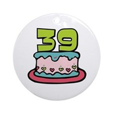 39th Birthday Cake Ornament (Round)