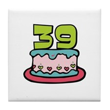 39th Birthday Cake Tile Coaster