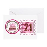 Birthday Stamp 21 Greeting Card