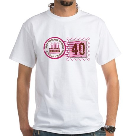 Birthday Stamp 40 White T-Shirt