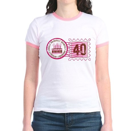 Birthday Stamp 40 Jr. Ringer T-Shirt