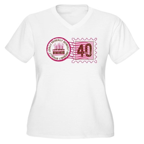 Birthday Stamp 40 Women's Plus Size V-Neck T-Shirt