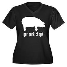 Pork Chop Women's Plus Size V-Neck Dark T-Shirt