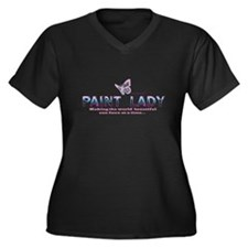 PAINT LADY Women's Plus Size V-Neck Dark T-Shirt