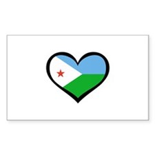 Djibouti Love Rectangle Decal