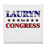 LAURYN for congress Tile Coaster