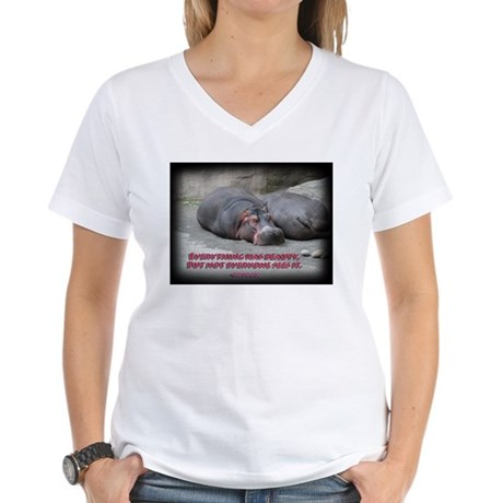 Hippos are beautiful! Women's V-Neck T-Shirt