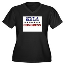 KYLA for congress Women's Plus Size V-Neck Dark T-
