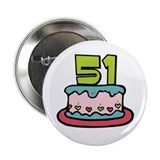 "51st Birthday Cake 2.25"" Button"