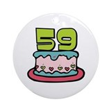 59th Birthday Cake Ornament (Round)