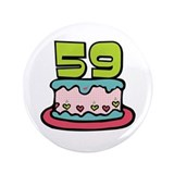 "59th Birthday Cake 3.5"" Button"