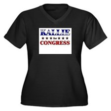KALLIE for congress Women's Plus Size V-Neck Dark