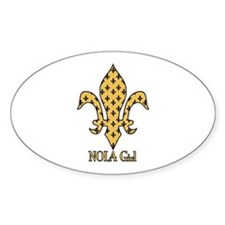 NOLA Girl Fleur de lis (gold) Oval Decal
