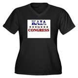 KAIA for congress Women's Plus Size V-Neck Dark T-