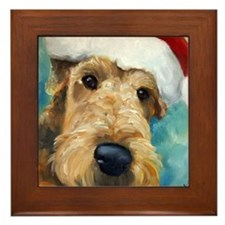 Airedale Santa DOG Framed Tile