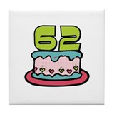 62nd Birthday Cake Tile Coaster