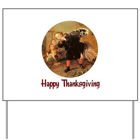 Boy and Thanksgiving Turkey Yard Sign