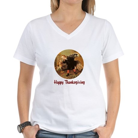 Boy and Thanksgiving Turkey Women's V-Neck T-Shirt