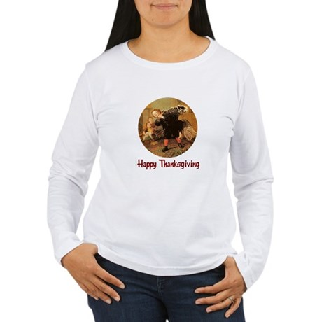 Boy and Thanksgiving Turkey Women's Long Sleeve T-