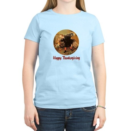 Boy and Thanksgiving Turkey Women's Light T-Shirt