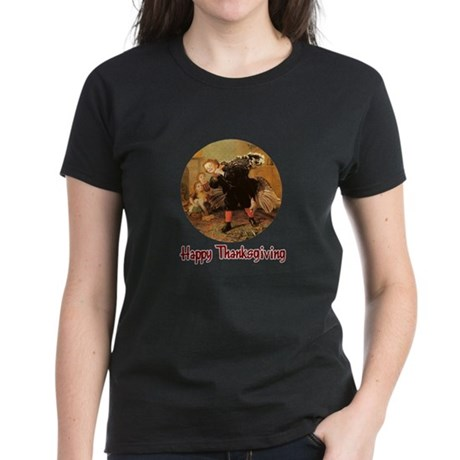 Boy and Thanksgiving Turkey Women's Dark T-Shirt