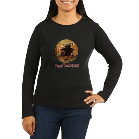 Boy and Thanksgiving Turkey Women's Long Sleeve Da