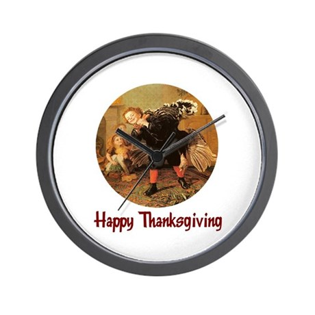 Boy and Thanksgiving Turkey Wall Clock
