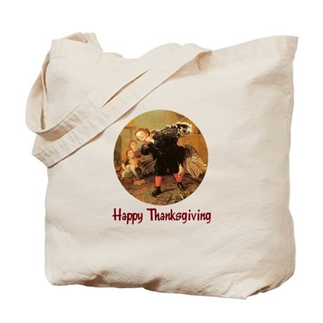 Boy and Thanksgiving Turkey Tote Bag