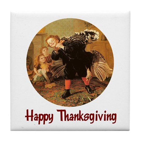 Boy and Thanksgiving Turkey Tile Coaster