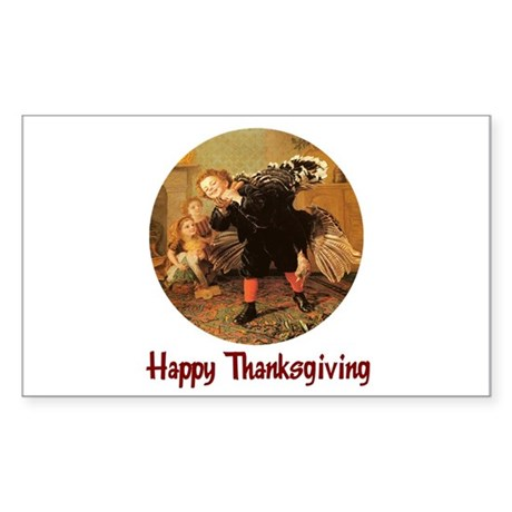 Boy and Thanksgiving Turkey Rectangle Sticker
