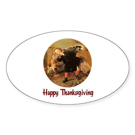 Boy and Thanksgiving Turkey Oval Sticker