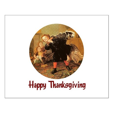 Boy and Thanksgiving Turkey Small Poster