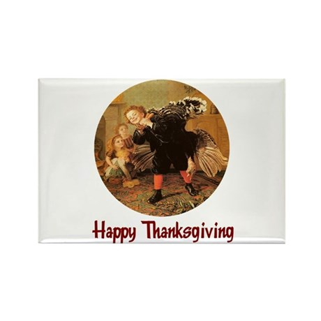 Boy and Thanksgiving Turkey Rectangle Magnet (100