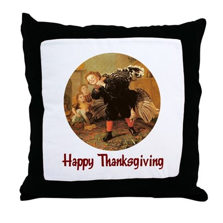 Boy and Thanksgiving Turkey Throw Pillow