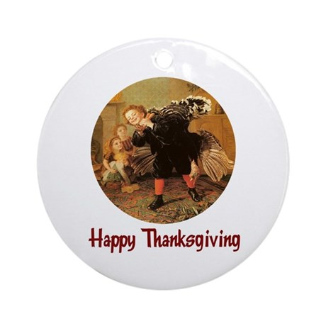 Boy and Thanksgiving Turkey Ornament (Round)